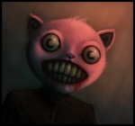 2011 abstract_background ambiguous_gender big_eyes blood cat creepy feline fundles fur looking_at_viewer mammal nightmare_fuel pink_fur scary simple_background solo soul_devouring_eyes teeth what
