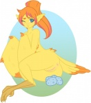 anus armless avian bird blue_eyes blush egg feathers female fur harpy nya plump_labia pussy solo wings yellow_fur   Rating: Explicit  Score: 7  User: Win  Date: May 15, 2015