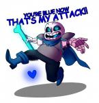 <3 armor blue_eyes bone boots cape chubby clothing dialogue english_text footwear glowing male open_mouth popcornpr1nce role_reversal sans_(undertale) skeleton smile solo text undertale video_games  Rating: Safe Score: 4 User: ROTHY Date: November 12, 2015