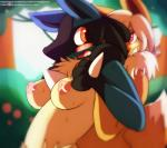 2015 ambiguous_gender anthro areola big_breasts black_fur blue_fur blush breasts chest_tuft duo eevee female fluffy fur grope hair looking_back lucario multicolored_fur nintendo nipples nude open_mouth orange_eyes outside pokémon purple_eyes saintversa smile spikes surprise tan_fur teeth tuft video_games  Rating: Questionable Score: 36 User: Saintversa Date: October 04, 2015