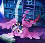 2017 ambiguous_gender book bookshelf cutie_mark equine feral fluffy friendship_is_magic hair horn inside library mammal my_little_pony purple_eyes purple_hair solo thediscorded twilight_sparkle_(mlp) winged_unicorn wingsRating: SafeScore: 0User: ConsciousDonkeyDate: August 22, 2017