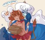 ! ? adventure_time anthro big_breasts blue_skin blush bovine bow breasts cleavage clothed clothing crown dress duo english_text female female/female hair half-dressed human humanoid ice_queen laur- mammal mrs._cow paper_bag royalty skirt surprise text topless white_hair   Rating: Questionable  Score: 3  User: ROTHY  Date: August 11, 2014