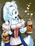 alcohol anthro beer beverage black_nose blue_fur blue_hair breasts bubble canine cleavage clothed clothing dirndl ear_piercing feather_in_hair feathers female fox fur green_eyes hair holding_object long_hair looking_at_viewer mammal megan_giles oktoberfest open_mouth piercing pigtails platinum_blonde ponytail simple_background soloRating: SafeScore: 1User: remigiusDate: October 21, 2017
