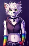 2012 anthro cat crossdressing cute digital_media_(artwork) ear_piercing falvie feline fur green_eyes hair male mammal piercing purple_background purple_markings rainbow simple_background solo white_fur white_hair  Rating: Safe Score: 114 User: slyroon Date: September 04, 2012