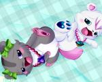 <3 <3_eyes amelie_(jewelpet) bear blue_eyes blush bow chest_tuft cub duo female female/female feral feral_on_feral fur gem grey_fur hair hamster jewelpet jewelry labra_(jewelpet) lying mammal mrsorange on_back open_mouth pawpads paws pink_fur polar_bear purple_eyes pussy pussy_juice rodent sanrio sex text tongue tribadism tuft white_fur young