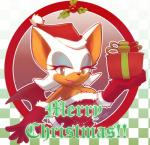 2014 anthro bat breasts christmas clothed clothing elbow_gloves english_text female gift gloves hat holidays looking_at_viewer mammal nancher pom_hat rouge_the_bat santa_hat solo sonic_(series) text wings  Rating: Safe Score: 8 User: Mienshao Date: December 17, 2014