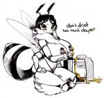 <3 abdomen arthropod bee big_breasts blush breasts english_text female honey insect lactating looking_at_viewer monochrome multi_limb solo text unknown_artist  Rating: Questionable Score: 8 User: Nuji Date: September 14, 2015