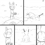 ? 1:1 anthro antlers bite biting_lip biting_own_lip cervid clothed clothing comic duo female hair horn lagomorph lake leporid lips male mammal monochrome rabbit self_bite slypon sound_effects sparkles topless water wet