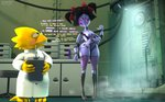 3d_(artwork) alphys android animal_humanoid arachnid arachnid_humanoid arthropod arthropod_humanoid black_hair breasts cable carbon_fiber clothing coat crossed_arms device dialogue digital_media_(artwork) dildo duo english_text eyewear female glasses hair hi_res humanoid inside lab_coat laboratory leetspeak lizard lizard_humanoid machine muffet owo_sfm pink_eyes pointing_at_object reptile reptile_humanoid robot robot_humanoid scalie scalie_humanoid sex_toy smoke source_filmmaker spider spider_humanoid text text_box topwear undertale video_games widescreen