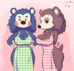animal_crossing anthro apron big_breasts blue_fur breasts brown_fur cleavage clothed clothing duo female freckles fur hedgehog joelasko looking_at_viewer mabel_able mammal nintendo sable_able video_games   Rating: Questionable  Score: 13  User: Brennertank  Date: March 10, 2015