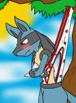 alexis-faustus angry blush briefs clothed clothing embarrassed hi_res jaydenthethunderwolf lucario male nintendo pokémon solo suspension tree underwear video_games wedgie  Rating: Questionable Score: 5 User: JaydenTW Date: January 26, 2016