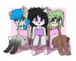 2019 aggie aggie_(artist) anthro arctic_fox black_hair blue_hair blush bow brown_fur canid canine clothed clothing cub cute_fangs digital_media_(artwork) domestic_ferret dook_(lildooks) dress female fox freckles fur green_eyes green_hair grey_fur group hair hand_holding hi_res inner_ear_fluff long_hair looking_at_viewer mammal mustela mustelid musteline open_mouth panties pawpads simple_background sitting smile teeth tongue tongue_out underwear white_fur young