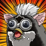 ambiguous_gender avian black_fur close-up drooling eyelashes fur furby furby_(species) janome-gotyou long_eyelashes nightmare_fuel open_mouth orange_background reaction_image saliva shocked simple_background solo soul_devouring_eyes tiger_electronics tongue what what_has_science_done white_fur