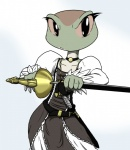 amphibian anthro beatriz_overseer beatriz_resont belt chochi clothing collar dress female frog jewelry looking_at_viewer melee_weapon musketeer necklace solo sword weapon  Rating: Safe Score: 21 User: ktkr Date: January 24, 2015