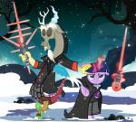2014 annoyed cape cloak clothing dead_tree discord_(mlp) draconequus equine fangs female friendship_is_magic glowing horn levitation lightsaber magic male mammal my_little_pony outside pixelkitties purple_eyes snow snowing sparkles standing tree twilight_sparkle_(mlp) weapon winged_unicorn wings   Rating: Safe  Score: 15  User: 2DUK  Date: December 08, 2014