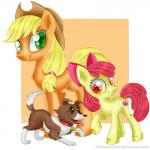 2015 apple_bloom_(mlp) applejack_(mlp) canine cub cutie_mark dog equine female feral friendship_is_magic group horse mammal my_little_pony pony sibling sisters swanlullaby winona_(mlp) young  Rating: Safe Score: 2 User: 2DUK Date: November 20, 2015