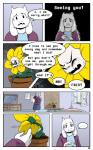 boss_monster caprine comic dialogue drama english_text fangs flora_fauna flowey_the_flower fur horn long_ears mammal plant smieska text toriel undertale video_games white_fur
