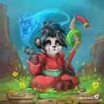 anthro bear blue_eyes clothing dragon female grass heroes_of_the_storm hi_res klar_jezebeth li_li_stormstout mammal panda pandaren signature sitting spirit staff video_games warcraft
