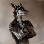 anthro armor black_fur black_hair blue_eyes clothed clothing discordnight fur hair half-dressed headwear male microphone muscles pose sergal solo stigmata toned topless white_fur   Rating: Safe  Score: 7  User: DiscordKnight  Date: April 04, 2015