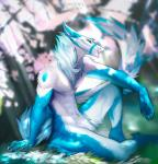 2017 5_fingers angiewolf blue_eyes blue_fur blurred_background claws detaile_background fur grass male navel sergal sitting smile solo white_fur