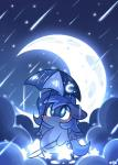 2014 blue_eyes blue_feathers blue_fur blue_hair chibi cloud cutie_mark equine feathered_wings feathers female feral fishing_rod friendship_is_magic fur hair hi_res horn lifeloser mammal moon my_little_pony outside princess_luna_(mlp) raining shooting_star slightly_chubby solo star umbrella winged_unicorn wings
