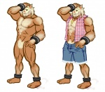 2016 abs anthro armpits beard body_hair chest_hair clothed clothing facial_hair jewelry kingdomheartskeeper kingdomxathers looking_at_viewer male mammal mature_male monkey muscular muscular_male necklace nintendo nipples open_shirt pecs pig plaid pokémon pokémorph porcine primate primeape shorts solo video_games