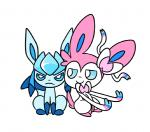 animated duo eeveelution frown glaceon nintendo plain_background pokémon robosylveon smile sylveon video_games white_background   Rating: Safe  Score: 10  User: JGG3  Date: April 20, 2015