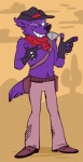 canine cowboy fur looking_at_viewer mammal one_eye_closed purple_fur sekotta solo source_request unknown_artist wink wolf   Rating: Questionable  Score: 1  User: sekotta  Date: August 22, 2013