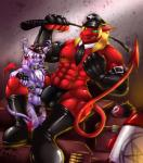 2014 abs anthro belt biceps big_muscles black_nipples blonde_hair bondage_gear boots bulge bullet cat chest_tuft claws clothed clothing collar demon digital_media_(artwork) drakians duo ear_piercing elbow_gloves feline fingerless_gloves footwear fur gloves green_eyes hair half-dressed hat horn interspecies katsuke katsuke_(character) leather male male/male mammal markings military missile muscles necktie nipples pecs pentacle piercing purple_fur red_skin ring rubber scales sitting size_difference sleeves spade_tail stripes thong toned topless tuft underwear uniform whip wings   Rating: Explicit  Score: 15  User: uncut69  Date: November 11, 2013
