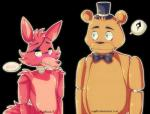 animatronic bear bow_tie canine duo eye_patch eyes_closed eyewear five_nights_at_freddy's fox foxy_(fnaf) freddy_(fnaf) hat machine male mammal mechanical myebi robot top_hat video_games   Rating: Safe  Score: 0  User: Vallizo  Date: May 22, 2015