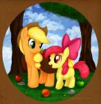 2011 amber_eyes apple apple_bloom_(mlp) applejack_(mlp) bag blonde_hair border bow circle cloud cowboy_hat cub detailed_background duo equine eye_contact female feral friendship_is_magic fruit fur green_eyes hair hat hi_res horse mammal mn27 my_little_pony open_mouth orange_fur outside photo_background pony quadruped red_hair saddle_bag scenery shaded sibling sisters sky smile standing tree wood yellow_fur young   Rating: Safe  Score: 6  User: Jatix  Date: March 10, 2014