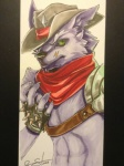 anthro armor canine cestus clothing cowboy fur gloves green_eyes male mammal purple_fur scar scarf sekotta solo unknown_artist western wolf  Rating: Safe Score: 3 User: sekotta Date: April 01, 2013""