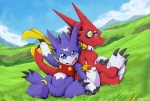 cute cyber-zai digimon dragon duo gumdramon scalie scar shoutmon   Rating: Safe  Score: 4  User: The_Gazi_Pack  Date: April 09, 2015