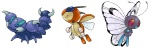 ambiguous_gender butterfree group insect_wings ledian nintendo pokémon simple_background skorupi spring_bane video_games white_background wings