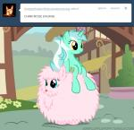 amber_eyes blue_eyes cutie_mark duo english_text equine fan_character female feral fluffle_puff fluffy friendship_is_magic fur green_fur hair horn horse lyra_heartstrings_(mlp) mammal mixermike622 my_little_pony outside pink_fur pink_hair pony ponyville sitting text tongue tongue_out tumblr two_tone_hair unicorn   Rating: Safe  Score: 8  User: anthroking  Date: February 14, 2014