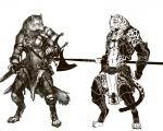 2012 afd-yred anthro armor barefoot canine claws clothed clothing duo feline fur halberd leopard loincloth male mammal melee_weapon monochrome muscular navel polearm sheath simple_background spots sword toe_claws weapon white_background wolf  Rating: Safe Score: 1 User: GameManiac Date: October 13, 2015