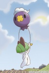 2014 black_eyes carrying digital_drawing_(artwork) digital_media_(artwork) drifloon duo field floating green_hair hair horn nintendo pokémon purple_body ralts red_horn scared sky troubled url video_games volmise white_skin