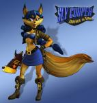 anthro blue_hair brown_eyes canine carmelita_fox clothing ear_piercing english_text female fox gloves hair lipstick mammal official_art piercing ponytail sly_cooper_(series) solo text tube_top  Rating: Safe Score: 5 User: Juni221 Date: July 12, 2014