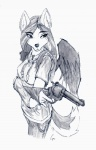 2012 anthro canine clothing feathered_wings feathers female fleur-de-lis greyscale gun hair handgun hi_res jewelry makosushi mammal marli_(character) monochrome necklace ranged_weapon revolver simple_background solo weapon white_background wings wolf