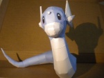 absurd_res ambiguous_gender blue_body dratini feral hi_res jewzeepapercraft looking_at_viewer nintendo papercraft pokémon real shadow solo video_games