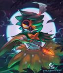 2016 2_fingers ambiguous_gender anthro arrow avian beak biped bird black_beak brown_feathers cloud dark_theme decidueye digital_media_(artwork) digital_painting_(artwork) eye_markings feathered_wings feathers fingerless_(marking) front_view frown full_moon glowing glowing_eyes green_feathers half-length_portrait holding_object lighting looking_away loose_feather markings mask_(marking) moon moonlight multicolored_feathers night nintendo nude orange_eyes orange_markings pokémon pokémon_(species) portrait pseudo_clothing signature sky solo spots spotted_feathers starsoulart video_games vines watermark white_feathers white_spots winged_arms wingsRating: SafeScore: 6User: DiceLovesBeingBlownDate: February 22, 2018