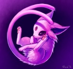 2012 ambiguous_gender digital_media_(artwork) eeveelution espeon falvie feral fur long_tail nintendo pink_eyes pink_fur pokémon pokémon_(species) purple_background simple_background solo video_games
