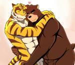 abs bear bearlovestiger13 biceps brown_fur duo feline fur hug juuichi_mikazuki male male/male mammal morenatsu muscular nude open_mouth pecs penis simple_background tiger torahiko_(morenatsu) white_background  Rating: Explicit Score: 10 User: Vallizo Date: July 29, 2015