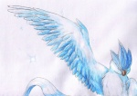 ambiguous_gender articuno avian beak bird blue_theme eyes_closed feathered_wings feathers feral legendary_pokémon night_owl nintendo pokémon simple_background solo sparkles video_games white_background wings