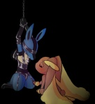 ambiguous_gender anthro bdsm big_ears black_background blush bound chained duo kajiura lagomorph lopunny lucario mammal nintendo plain_background pokémon rabbit red_eyes video_games   Rating: Safe  Score: 8  User: Shaymin-S  Date: July 12, 2013