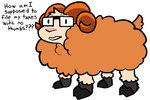 2020 2_toes aliasing ambiguous_gender bovid caprine dialogue digital_media_(artwork) english_text eyewear eyewear_only feral fur glasses glasses_only hooves horn mammal meme nude open_mouth orange_body orange_fur orange_horn pink_nose sheep simple_background solo square_glasses tan_body tan_fur text toes trout_(artist) trout_(character) white_background wool_(fur)