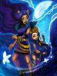 canine clawdeen_wolf duo fangs female hair howleen_wolf lips looking_at_viewer mammal monster_high moon purple_hair sibling sisters were werewolf yellow_eyes  Rating: Safe Score: 0 User: Nuji Date: October 03, 2015