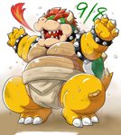 2020 anthro bandage belly big_belly bodily_fluids bowser bowser_day bracelet breath_powers collar crouching dirty elemental_manipulation fire fire_breathing fire_manipulation hi_res jewelry kemono kimagure_monja koopa male mario_bros moobs nintendo overweight overweight_anthro overweight_male scalie solo spiked_bracelet spiked_collar spikes sumo sweat thick_thighs video_games