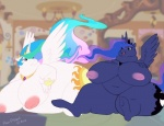 2012 <3 anthro anthrofied big_breasts blue_eyes blue_fur breasts crown cutie_mark duo equine female friendship_is_magic fur hair horn horse inverted_nipples lying mammal morbidly_obese multicolored_hair my_little_pony nipples nude on_front overweight pony princess princess_celestia_(mlp) princess_luna_(mlp) purple_eyes revadiehard royalty sibling sisters sitting weight_gain white_fur winged_unicorn wings   Rating: Questionable  Score: 3  User: ErosThanatos  Date: March 10, 2013