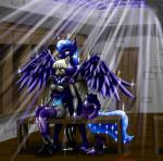 2013 anthro anthrofied armor bat_pony bat_wings bench blue_hair boots breasts cartoon cutie_mark door duo equine female friendship_is_magic hair helmet horn hug mammal metalfoxxx my_little_pony night nipples nude princess_luna_(mlp) pussy royal_guard_(mlp) sitting skylight sparkles star table tail_wrap thestral white_hair winged_unicorn wings yellow_eyes   Rating: Explicit  Score: 11  User: 2DUK  Date: January 25, 2015